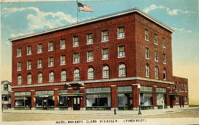 Clare County Antique Postcards Doherty Hotel Michigan